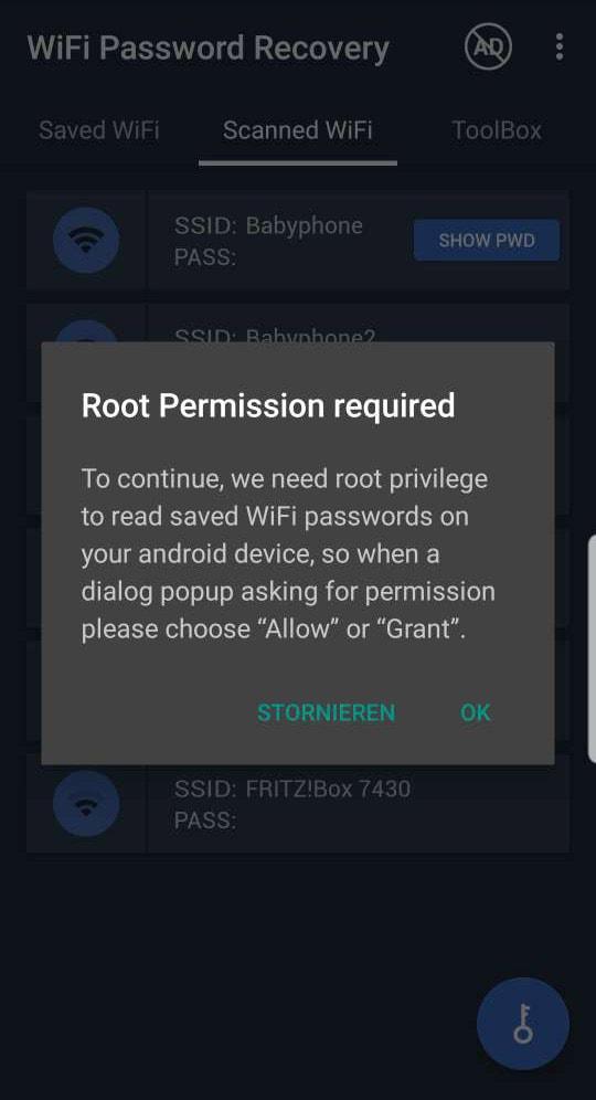Android Wlan-Passwort anzeigen App WiFi Password Recovery